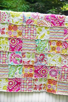 Kumari Garden Crib Rag Quilt Ready to ship by WestCoastQuilts Flannel Rag Quilts, Baby Rag Quilts, Sewing Crafts, Sewing Projects, Country Quilts, Doll Quilt, Quilt Making, Antique Dolls, Deco