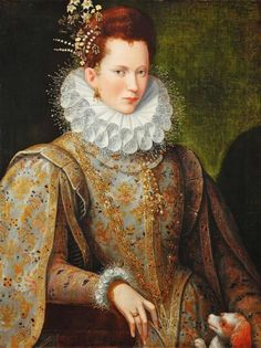 Lavinia Fontana [Italian Mannerist Painter, 1552-1614]  Portrait of a Lady of the Court with Dog, 1590