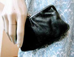 Original Vintage 90s Osprey Leather Coin Purse Wallet Black