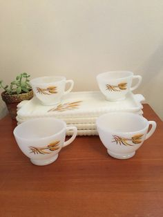 Milk glass  snack trays plates Golden  wheat pattern by HollyWouldFind on Etsy