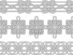 Illustration - Celtic border pattern seamless stencil set  I want to use this for Pergamano!