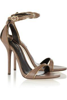 Dolce & Gabbana|Lizard-effect leather sandals|NET-A-PORTER.COM