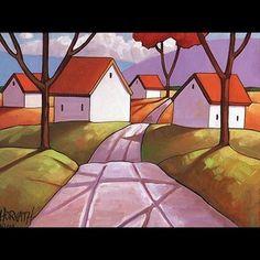 12x16 Road Trees Original Modern Folk Art Landscape Abstract Painting Horvath | eBay