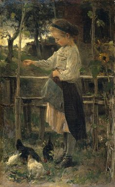 Feeding chicks  Jacob Maris - 1866