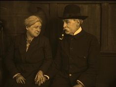 Old couple.  From J'Accuse, directed by Abel Gance, 1916. French silent film.