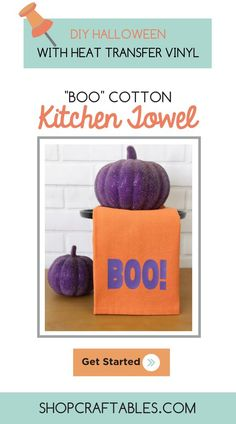 Looking for a fun & easy way to spruce up your kitchen for Halloween? Check out this tutorial from for making DIY cotton kitchen towels using transfer vinyl Vinyl Crafts, Vinyl Projects, Diy Craft Projects, Halloween Vinyl, Halloween Kitchen, Cheap Heat Transfer Vinyl, How To Dye Fabric, Dyeing Fabric, Vinyl Tumblers