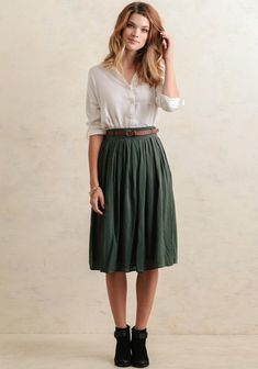 Cider House Midi Skirt In Green Spring Skirts Outfits, Modest Summer Outfits, Skirt Outfits, Dress Skirt, Midi Skirt Outfit Casual, Casual Outfits, Brown Belt Outfit, Poka Dot Dress, Church Clothes