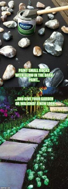 Glow in the dark paint on rocks for illuminated garden