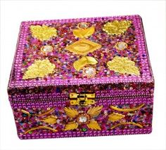 Where To Buy Decorative Boxes Buy Indian Handmade 7 Inches Golden Mirror Work Jewelry Box In Lac