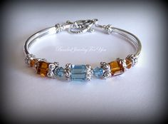 Aquamarine Bridesmaid Bracelet: Birthstone by beadedjewelryforyou