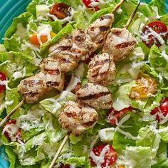 Greek Caesar Salad with Chicken Kabobs