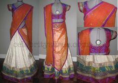 Raw Silk Designer Half Sarees