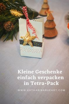 Zero Waste Geschenkverpackung aus Tetra-Pack selber machen Tetra Pack, Zero, Gift Wrapping, Gifts, Wrapping Gifts, Stocking Stuffers, Homemade, Gift Wrapping Paper, Presents