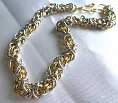 Gold silver chainmaille bracelet, renaissance jewelry, medieval bracelet, gift…