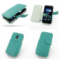 PDair Leather Case for Asus PadFone 2 - Book Type (Aqua)