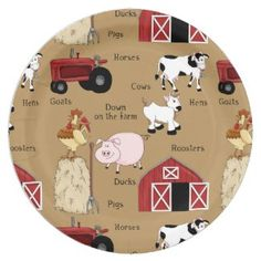 Shop Country Farm party paper plates created by DoodlesGifts. Farm Party Foods, Farm Themed Party, Barnyard Party, Birthday Party Decorations, Party Themes, Theme Ideas, Party Ideas, Birthday Parties, Party Plates