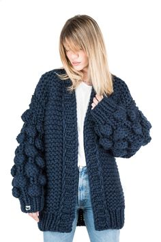 """The world's famous authentic """"Warm Up"""" cardigan! Unique designed, bubble sleeves and relaxed Stay Warm, Online Boutiques, Winter Outfits, Cardigans, Sweaters, Comfy, Knitting, Crochet Clothes, Unique"""