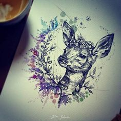 (Emily's Moose nice Couples Tattoos Ideas – Karolina Kubikowska deer tattoo idea – awesome! Hirsch Tattoo Frau, Hirsch Tattoos, Fawn Tattoo, Moose Tattoo, Baby Deer Tattoo, Deer Head Tattoo, Piercings, Piercing Tattoo, Neue Tattoos