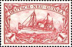 "German New Guinea 1901 Yacht ""Hohenzollern II"" Issue 1mk [MiNr 16, Sc 16]"