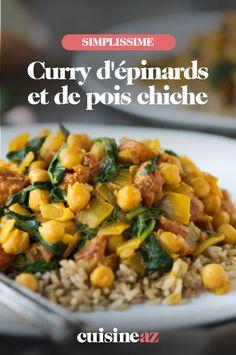 Une recette facile de curry vegetarien d'épinards et de pois chiche. #recette#cuisine#curry#epinards #poischiche #vegetarien
