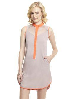 ESLEY  Sleeveless Sheer Dress with Contrast Trim