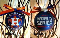 World Series 2017 Houston Astros Glass Christmas Tree Ornament, Christmas Decoration, Christmas Ornament, World Series Ornament, Baseball