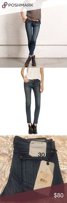 """Rag and bone Rag and bone Preston skinny jeans in size 30 Skinny-leg stretch jeans are cut from dark-rinse stretch denim detailed with fading. 30"""" inseam; 10 1/2"""" leg opening; 8 1/2"""" front rise; 13"""" back rise (size 29). Zip fly with button closure. Five-pocket style. 98% cotton, 2% polyurethane. Machine wash cold; line dry. Made in the USA of imported fabric. rag & bone Jeans Skinny"""