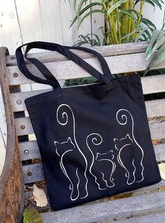 Cool Cats Cats cat tote Cats Tails Black black cats tote bag two sided design canvas tote cat canvas tote cat bag kitty tails Bag Women, Tote Bags Handmade, Cat Bag, Denim Bag, Fabric Bags, Cool Cats, Purses And Bags, Jean Purses, Reusable Tote Bags