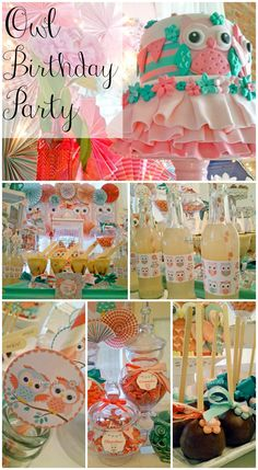 Terrific owl birthday party ideas, especially that beautiful owl birthday party cake! See more party ideas at CatchMyParty.com. #owls #girlbirthday #partyideas