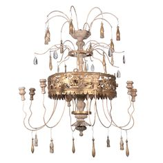 Antique Florentine-Italian Gilt Fern Crown Chandelier | From a unique collection of antique and modern chandeliers and pendants  at https://www.1stdibs.com/furniture/lighting/chandeliers-pendant-lights/