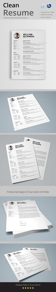 Word Resume \ Cover Letter Template by DemeDev on @creativemarket - clean resume format