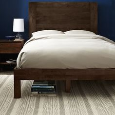 Boerum Bed Frame - Café #westelm  For Dom. We just need to make sure his duvet cover comes down over the Bedframe corners....who makes their bed like this, anyway??!!