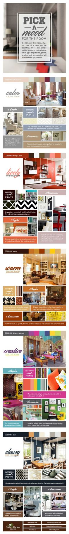 3 colors and moods infographic 50 amazingly clever cheat sheets to simplify home decorating - Decor Styles