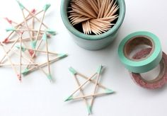 Toothpicks and tape = star decorations for the tree