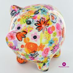 Pomme Pidou Pixie The Pig Ceramic Money Box in Yellow With Bird Design