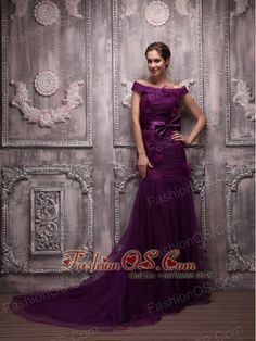 Eggplant Purple Mermaid Off The Shoulder Brush Train Tulle Hand Made Flowers Evening Dress Prom Dress 2013, Prom Party Dresses, Pageant Dresses, Homecoming Dresses, Evening Dresses, Dresses 2013, Graduation Dresses, Banquet Dresses, Prom Gowns