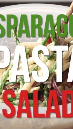 Asparagus Pasta Salad This salad is full of deliciousness. It's a cold pasta salad, which is great for pot lucks and bbq's! Pasta Salad With Tortellini, Pasta Salad Italian, Cold Pasta Salads, Asparagus Salad, Asparagus Recipe, Pot Luck, Ranch Pasta, Pasta Salad Recipes, Healthy Salads