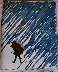 Melted crayon art.  I like the rain coming in from an angle.