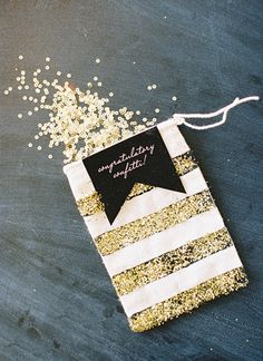 gold sequins as congratulatory confetti * {southern weddings -- gold + striped south carolina wedding, Photographer: Landon Jacob Productions, Cookie Bags, Confetti Bags and Late Night Snack Boxes: Lady Letterpress} Confetti Bags, Glitter Confetti, Wedding Confetti, Confetti Ideas, Diy Confetti, Confetti Photos, Gold Wedding, Dream Wedding, Glitter Wedding