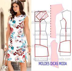 Mais uma proposta de uma seguidora para abordar o molde de vestido floral com drapeado na gola. Este modelo é elegante, descontraído e muito actual.