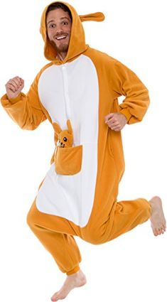 Silver Lilly Unisex Adult Pajamas - Plush One Piece Cosplay Animal Kangaroo  Costume (Brown f4828720e