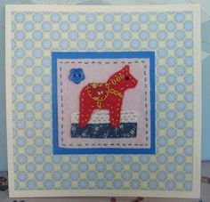 Little Red Horse Embroidered Applique card £3.50