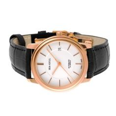 Mechanical White Dial Leather Watch, SEA-GULL