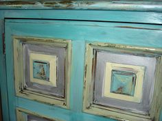 Vintage Hand Painted Solid Wood Buffet  by ContagiousColors, $899.00