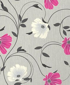 Sheena (M0810) - Crown Wallpapers - A pretty bloom with a glittering centre and swirling, shimmering leaves on a linen background. Shown here in Grey/pink - more colours are available. Please request a sample for true colour match.