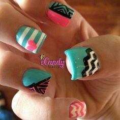 I like the turquoise stripes and pink heart the best!