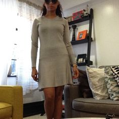 Rebecca Minkoff Dress Beautiful Grey wool and acrylic dress. features long sleeves, crew neck and round skirt. In great condition. Rebecca Minkoff Dresses