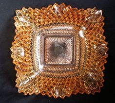 Vintage Amber Color Indiana Diamond Point Pressed Glass Ruffled Edge Square Dish