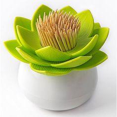 Qualy Lotus Tandenstokerhouder - Wit/Groen
