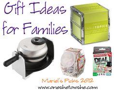 Gift ideas for families ~ Mariel's Picks 2012 ~ 'Or so she says...' www.oneshetwoshe.com